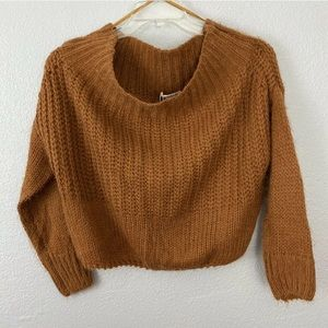 MIRACLE Brown Off-The-Shoulder Cropped Sweater
